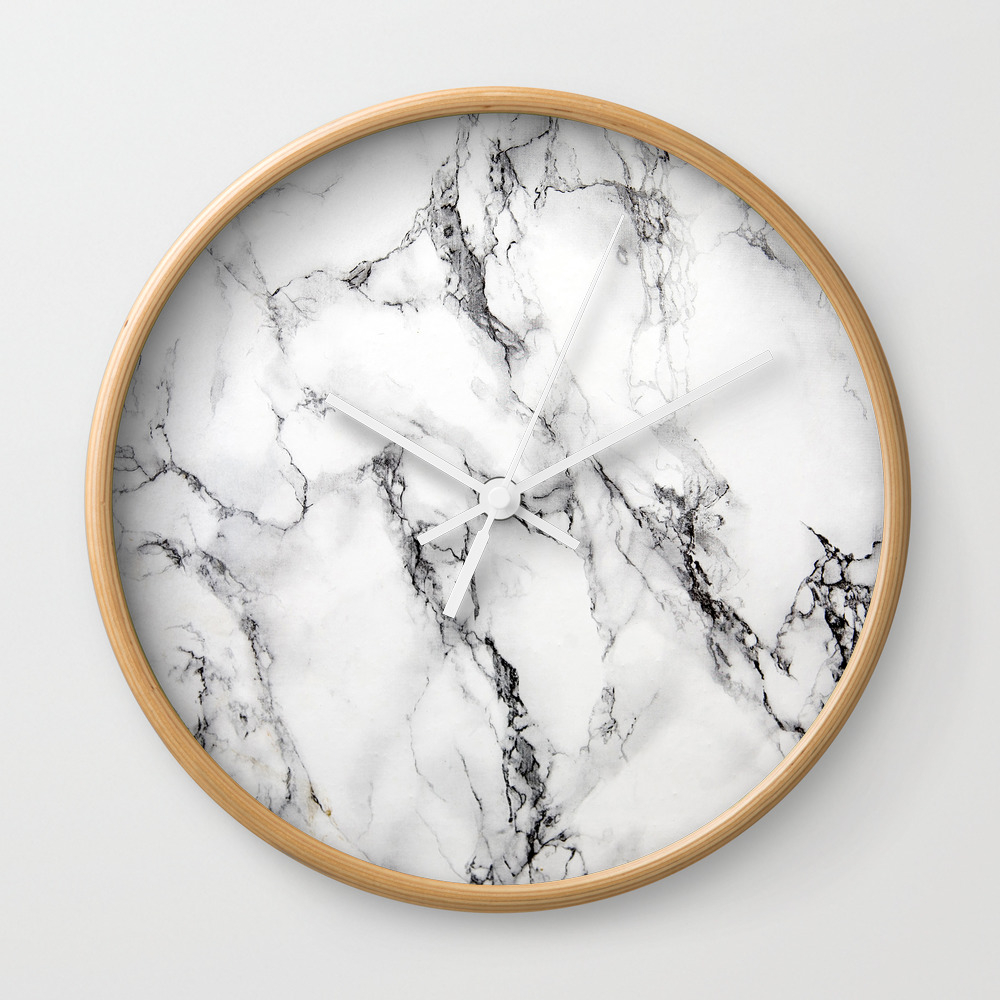 White Marble Texture Wall Clock by Artonwear