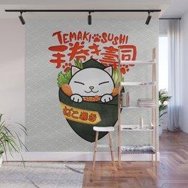 Temaki Sushi Cat (Hand Rolled Sushi) Wall Mural