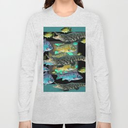 FISH DINNER & HUNGRY ALLIGATORS BLUE ART Long Sleeve T-shirt