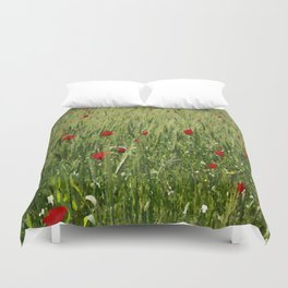 Red Poppies Growing In A Corn Field  Duvet Cover