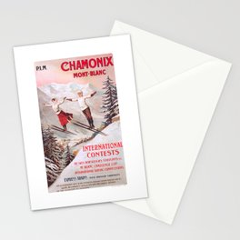 1910 France Chamonix Skiing PLM Travel Poster Stationery Cards