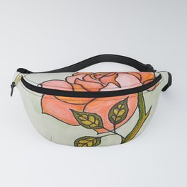 Pink Rose Stem Design — Pink Rose Illustration — Rose in Aqua Oval Fanny Pack