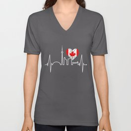 Toronto Skyline Heartbeat Canadian Flag For Men Women Canada Unisex V-Neck