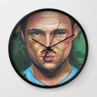 tyler durden Wall Clocks featuring FIGHT CLUB - TYLER DURDEN by John McGlynn