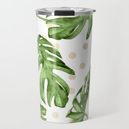 Simply Tropical White Gold Sands Dots and Palm Leaves Travel Mug