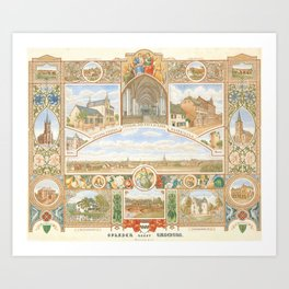 Vintage greeting from Opladen Art Print