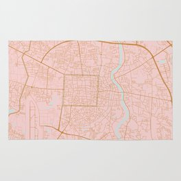 Pink and gold Chiang Mai map, Thailand Rug