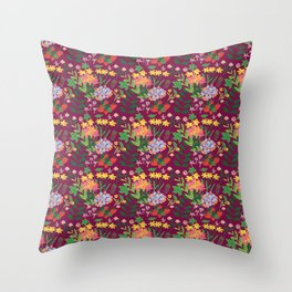 Flowers and strawberries Throw Pillow