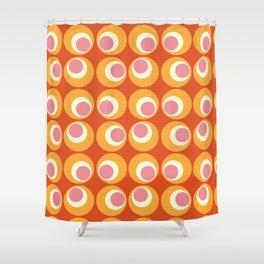 Orange and Pink Retro Circles Shower Curtain