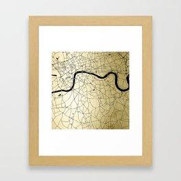 London Gold on Black Street Map Framed Art Print