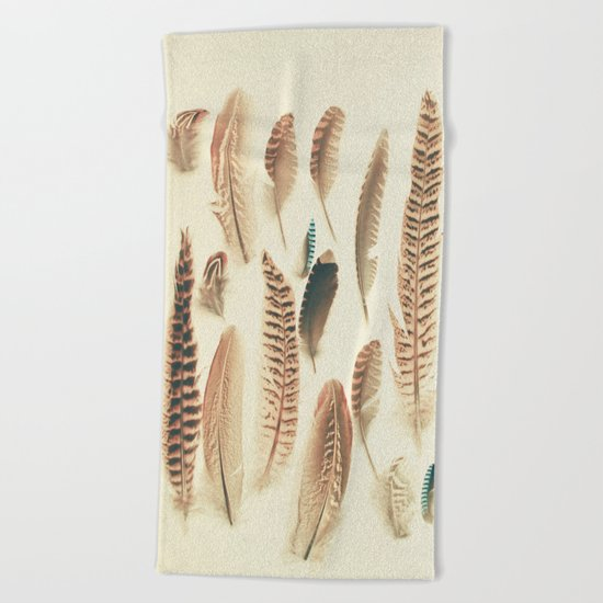 Found Feathers Beach Towel