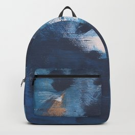 Ships in the Night: a vibrant abstract mixed-media piece in blues and golds by Alyssa Hamilton Art Backpack