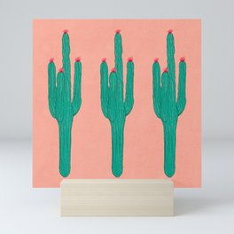 Cute Saguaros (Pattern Version) Mini Art Print
