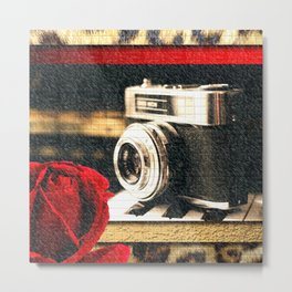 Vintage Camera Piano Leopard & Red Rose Metal Print