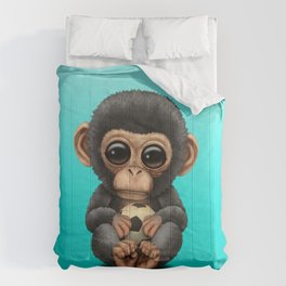 Cute Baby Chimp With Football Soccer Ball Comforters