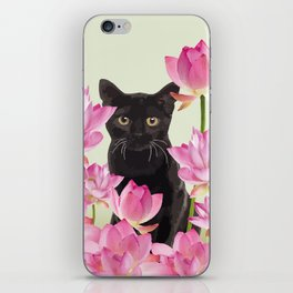 Lotus Flower Blossoms Black Cat iPhone Skin