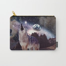 Wolf in the moon howling at the earth Carry-All Pouch