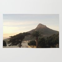 south africa Area & Throw Rugs featuring Table Mountain, South Africa by LFT designs