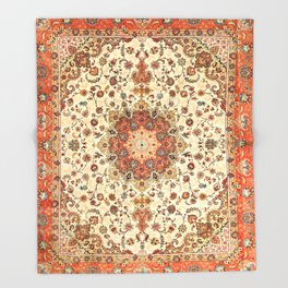 N71 - Orange Antique Heritage Traditional Moroccan Style Mandala Artwork Throw Blanket