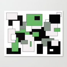 Squares - green, gray, black and white. Canvas Print