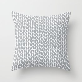 Hand Knit Zoom Grey Throw Pillow