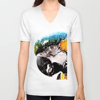 parrot V-neck T-shirts featuring Parrot by Regan's World