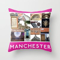 manchester Throw Pillows featuring Manchester 2 by PiecesofEngland