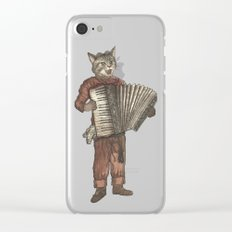Accordion Cat with Goggles and Mask Clear iPhone Case