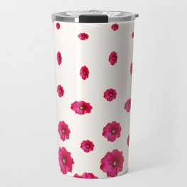WHITE DOUBLE CERISE HOLLYHOCK FLOWERS GARDEN Travel Mug