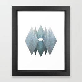 Misty Forest Mountain Bear Framed Art Print
