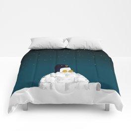 Star gazing - Penguin's dream of flying Comforters