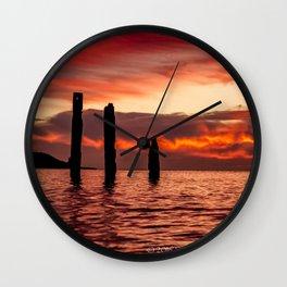 SUNSET at PORT WILLUNGA JETTY RUINS Wall Clock