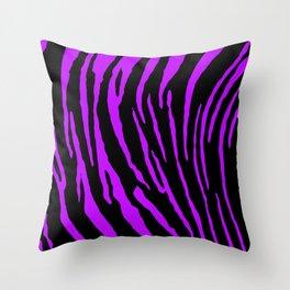 Purple Tiger Stripes Throw Pillow