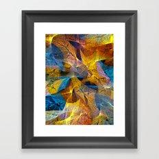 Gold & Blue Abstract Framed Art Print