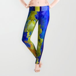 Contemporary Yellow-Purple  Color Yellow Iris Abstract Leggings