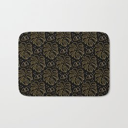 Gold Monstera on Black Bath Mat