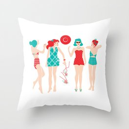 Beach Babes Throw Pillow