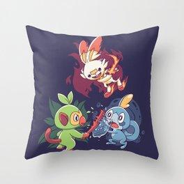 Galar Starters Dark Throw Pillow