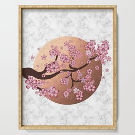 Blooming Sakura Branch on marble Serving Tray