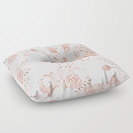Roses Rose Gold Glitter Pink by Nature Magick Floor Pillow