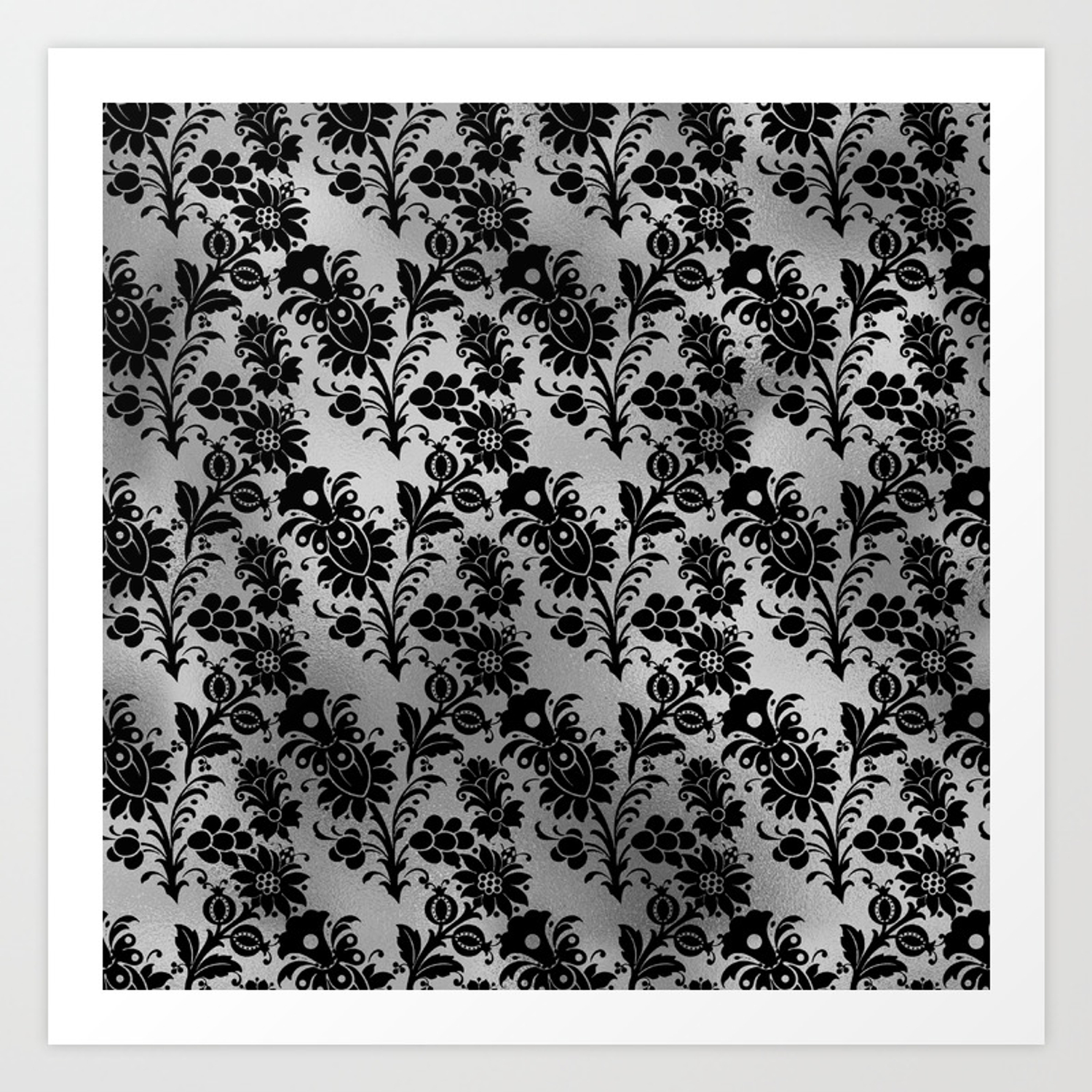 Black And Silver Floral Design Art Print By Charlieprintsnmore