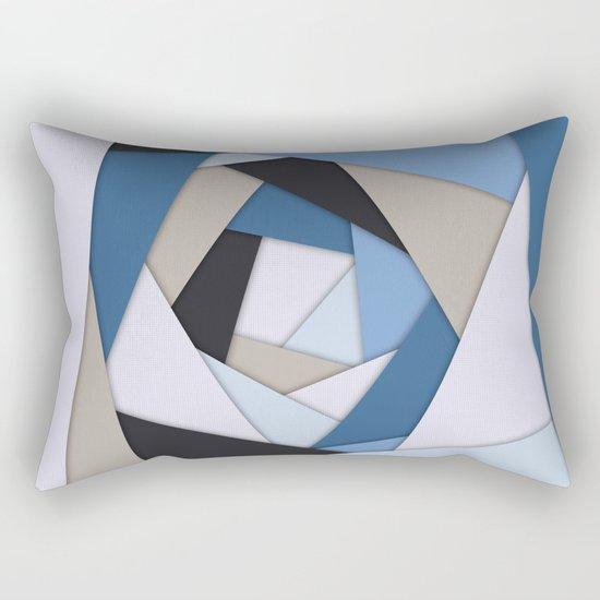 Abstract Blues Geometric Layers Rectangular Pillow
