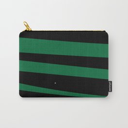 Debra Stripes Green and Black Background Carry-All Pouch