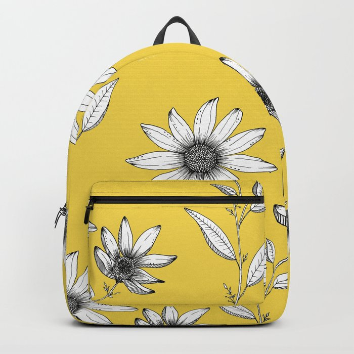Wildflower line drawing | Botanical Art Rucksack