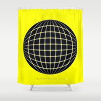 waldo Shower Curtains featuring BLACK DOT by Lazy Bones Studios