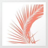 Tropical Coral Palm Leaf Print Art Print