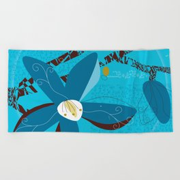 Blue Saucer Magnolia Beach Towel