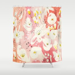 Spring Field in Crimson Peach Shower Curtain