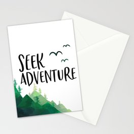 Seek Adventure, Tree Print, Kids Room Decor, Typography Art, Nursery Decor Stationery Cards