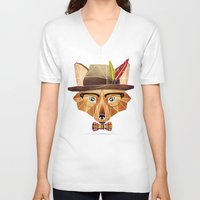 mr fox V-neck T-shirts featuring mr. fox by Manoou